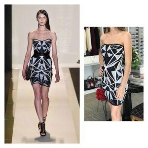 Herve Leger Strapless Geometric Blue Bandage Dress